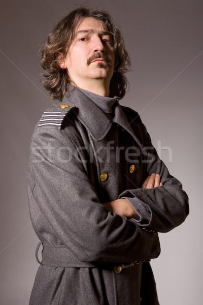 Russisch militaire jonge man studio foto portret Stockfoto © zittto