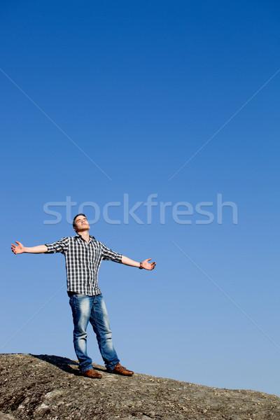 élet fiatal lezser férfi égbolt felhők Stock fotó © zittto