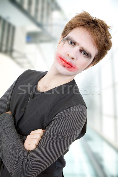 Crazy молодым человеком улыбка вечеринка человека глазах Сток-фото © zittto