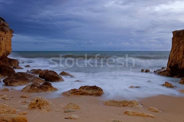 La exposición a largo océano playa agua textura puesta de sol Foto stock © zittto