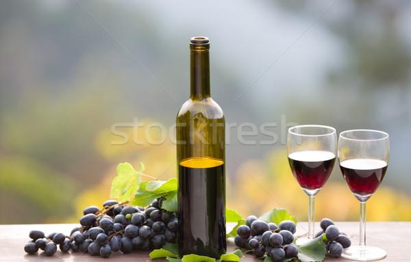 şarap şişesi üzüm ahşap masa açık güneş Stok fotoğraf © zittto