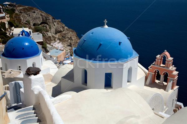 Santorini widoku górę wyspa Grecja domu Zdjęcia stock © zittto