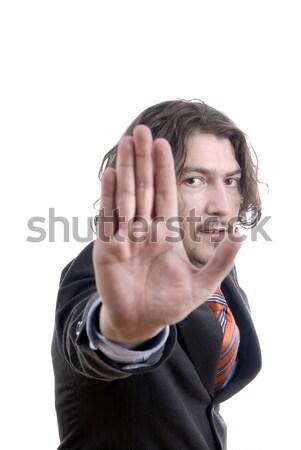 Stop człowiek biznesu skupić oczy strony Zdjęcia stock © zittto