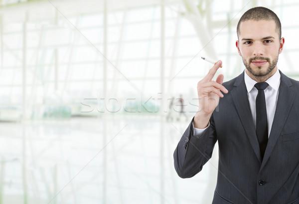 Sigara tiryakisi işadamı sigara içme ofis iş adam Stok fotoğraf © zittto