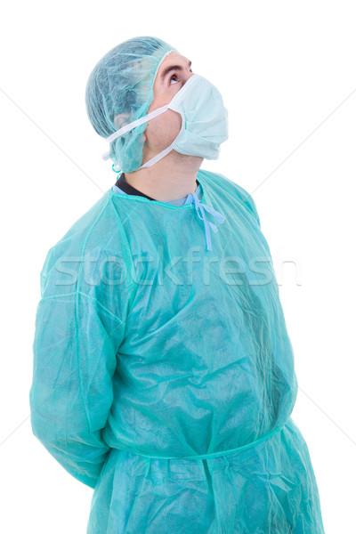 ストックフォト: 医師 · 小さな · 男性医師 · 孤立した · 白 · 笑顔