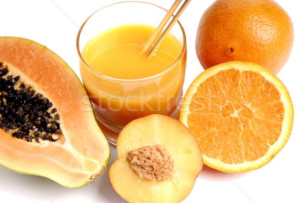 Lédús üveg narancslé vág narancsok gyümölcs Stock fotó © zittto
