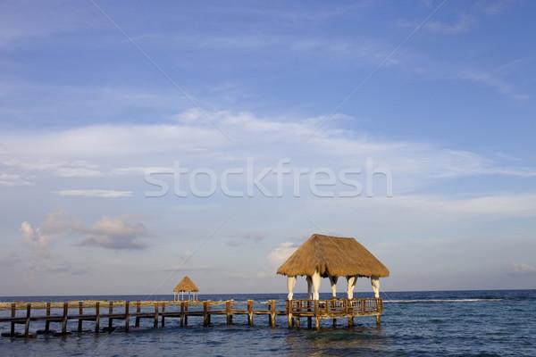 Fából készült dokk Karib tenger félsziget Mexikó Stock fotó © zittto