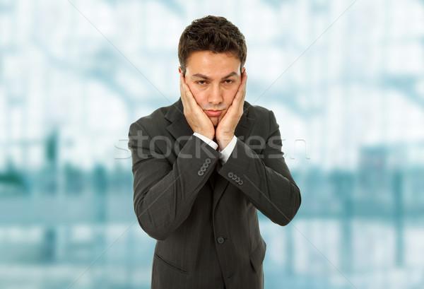 Fejfájás üzletember öltöny gesztusok iroda férfi Stock fotó © zittto