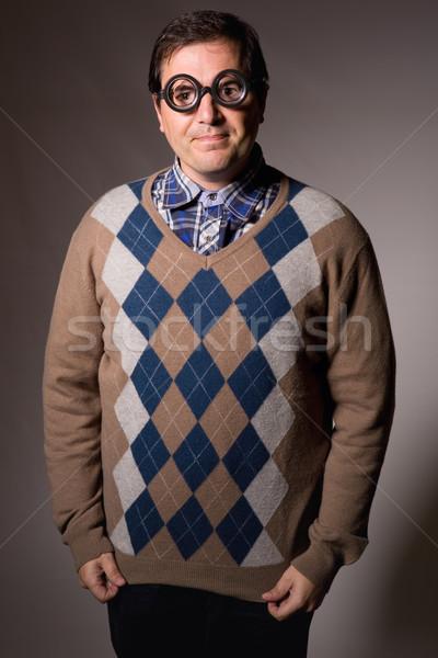 Leraar grappig bril studio foto gezicht Stockfoto © zittto