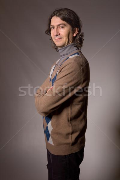 Uomo ritratto giovani casuale buio faccia Foto d'archivio © zittto