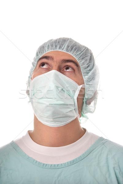 Verpleegkundige jonge mannelijke geïsoleerd witte handen Stockfoto © zittto