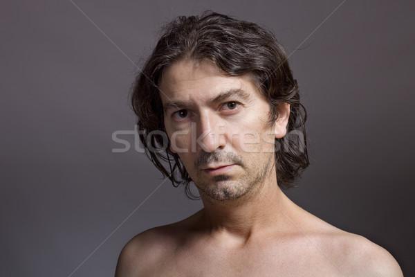 Genç portre karanlık yüz zaman siyah Stok fotoğraf © zittto