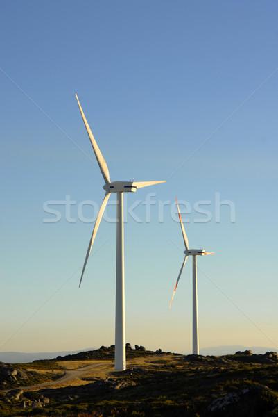 Fehér szélturbina felső hegy természet zöld Stock fotó © zittto