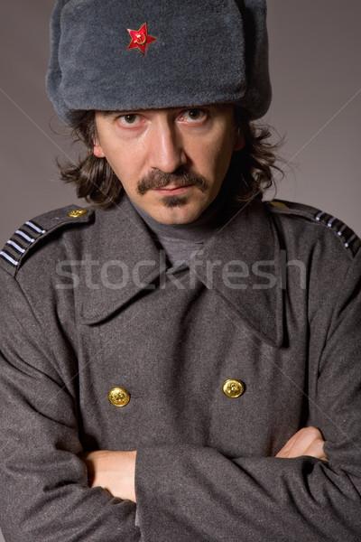 Orosz katonaság fiatalember stúdió kép piros Stock fotó © zittto