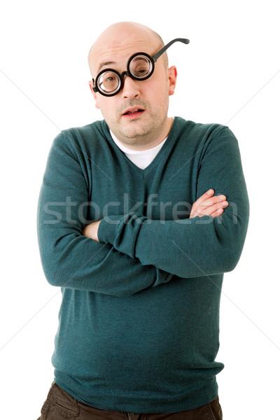 Geek uomo isolato bianco moda ritratto Foto d'archivio © zittto