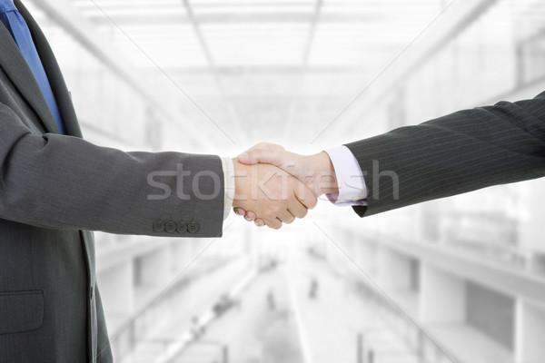 El sıkışma iki işadamları ofis iş toplantı Stok fotoğraf © zittto