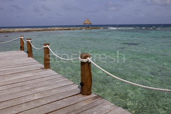 Pier legno dock Caraibi mare penisola Foto d'archivio © zittto
