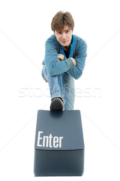 Belépés kulcs fiatal lezser férfi üzlet Stock fotó © zittto