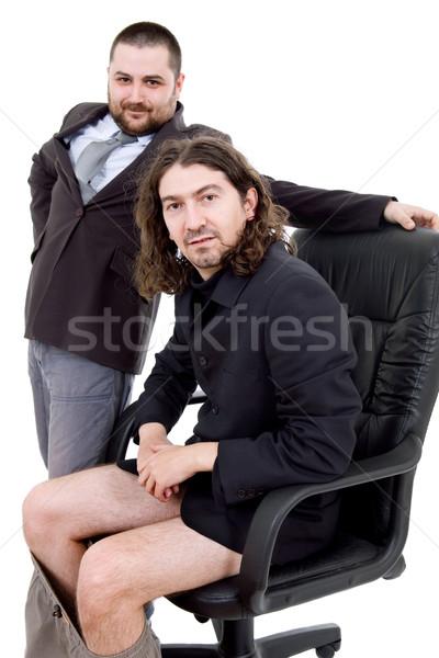 Dom twee jonge zakenmannen portret geïsoleerd Stockfoto © zittto