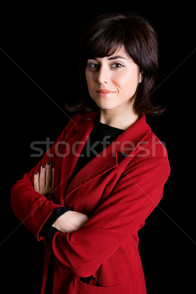 Iş kadını genç portre siyah mutlu moda Stok fotoğraf © zittto