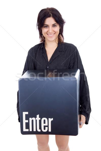 Belépés kulcs fiatal gyönyörű nő lány modell Stock fotó © zittto