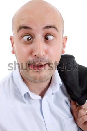 Dom jonge man portret geïsoleerd witte Stockfoto © zittto