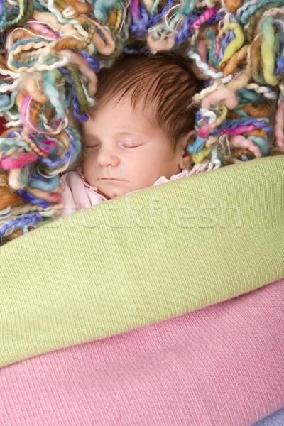 Fiatal baba alszik stúdió kép lány Stock fotó © zittto