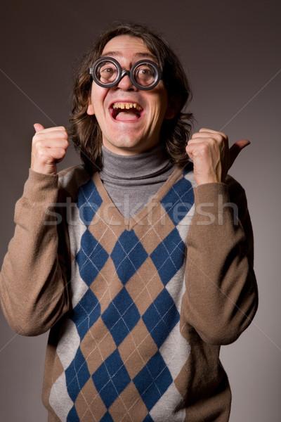 Leraar grappig bril studio foto Stockfoto © zittto
