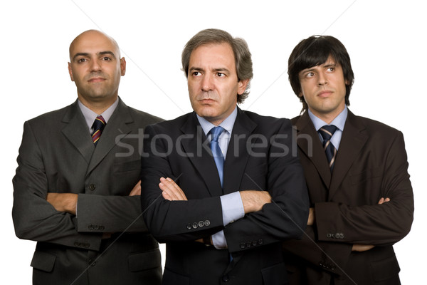 Equipo tres hombres de negocios aislado blanco reunión Foto stock © zittto