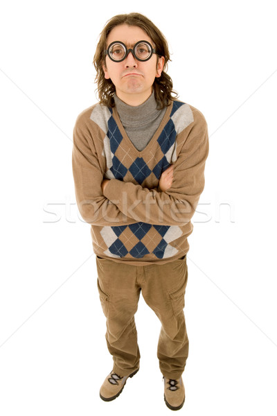 Geek insegnante stupido isolato moda Foto d'archivio © zittto