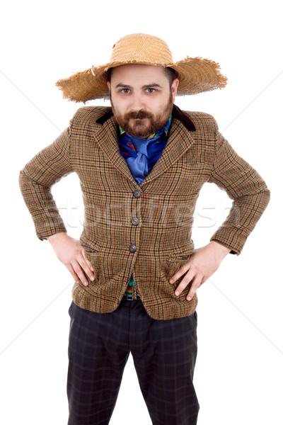 Bobo casual homem jovem retrato isolado Foto stock © zittto