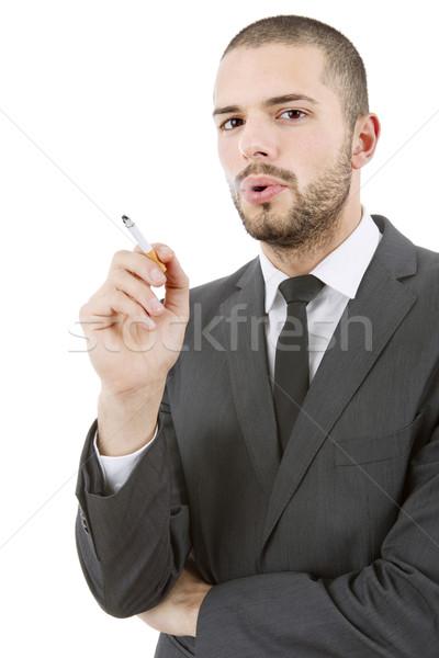 курильщик бизнесмен курение изолированный белый бизнеса Сток-фото © zittto
