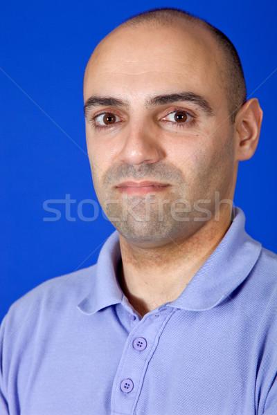 Moço casual retrato azul homem olhos Foto stock © zittto