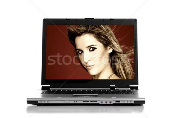 Laptop personal computer geïsoleerd witte business vrouw Stockfoto © zittto