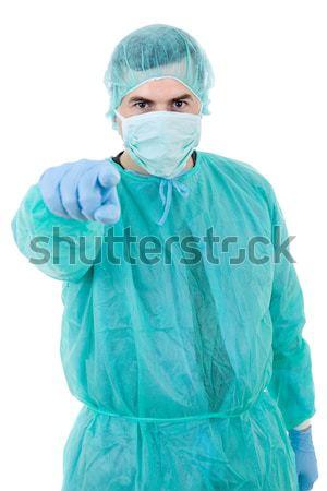 Doktor genç erkek doktor yalıtılmış beyaz gülümseme Stok fotoğraf © zittto