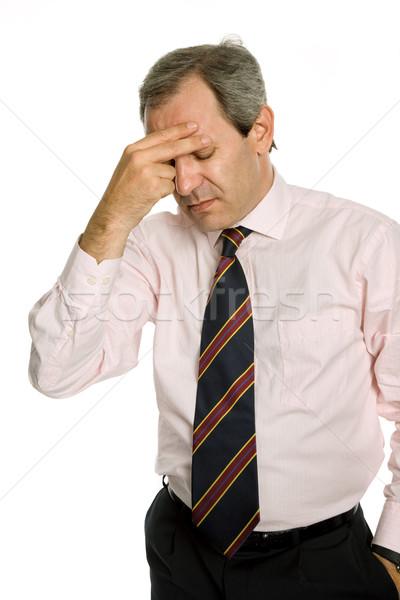 Baş ağrısı işadamı takım elbise iş el Stok fotoğraf © zittto