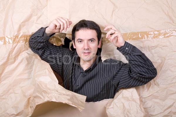 Hombre ira joven grande agujero Foto stock © zittto
