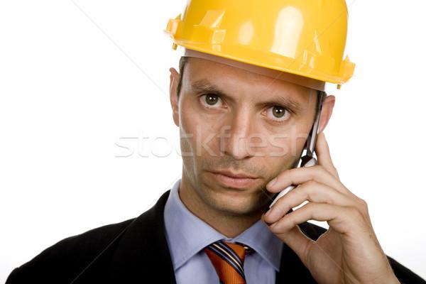 Chamada engenheiro amarelo seis isolado branco Foto stock © zittto