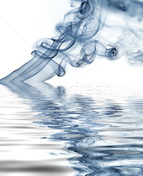 Blauw rook stralen abstract witte achtergrond Stockfoto © zittto