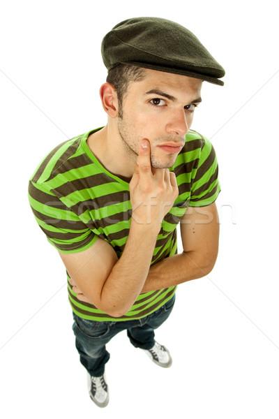 Naar jonge toevallig man witte Stockfoto © zittto