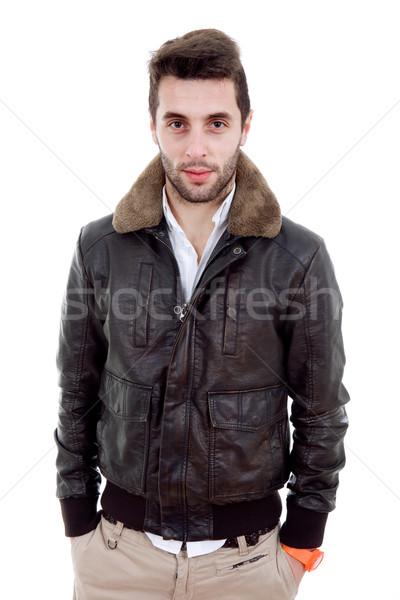 Casual jóvenes hombre retrato aislado blanco Foto stock © zittto