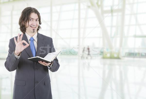 Işadamı mutlu kitap ofis iş yazı Stok fotoğraf © zittto