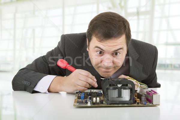 Zdjęcia stock: Płyta · komputera · inżynier · pracy · biuro · działalności