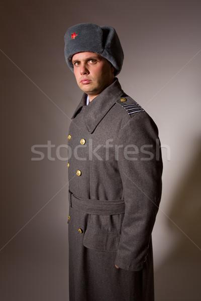 Soldado moço russo militar estúdio quadro Foto stock © zittto