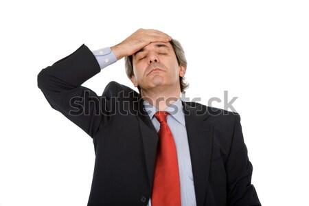 Dor de cabeça empresário terno gestos trabalhador estresse Foto stock © zittto