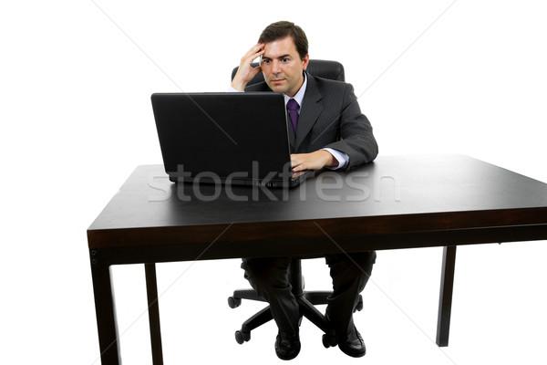Trabalhando jovem homem de negócios laptop isolado feliz Foto stock © zittto