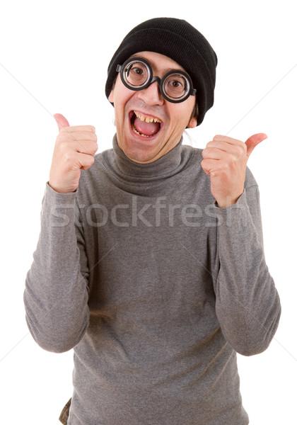 Geek человека изолированный белый стороны Сток-фото © zittto