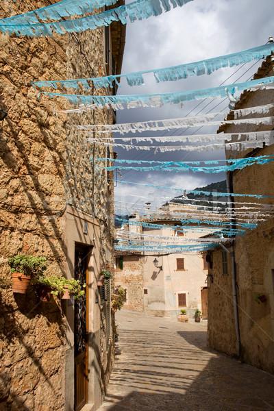 Stockfoto: Oude · dorp · majorca · Spanje · bloemen · gebouw