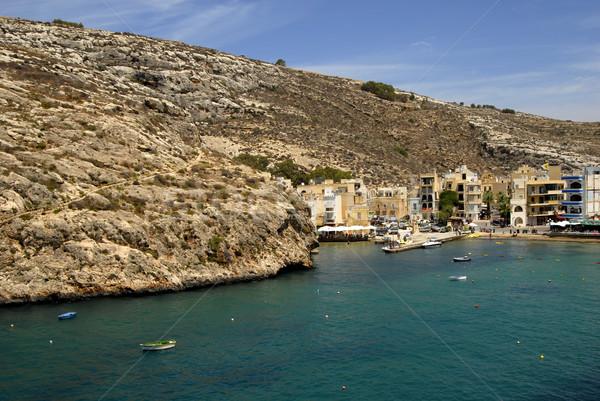 Foto stock: Malta · pequeño · pueblo · playa · cielo · agua