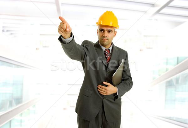 Indicação engenheiro amarelo seis escritório negócio Foto stock © zittto